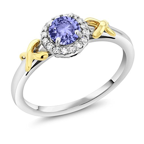 10K Two Tone Gold 0.46 Ct Round Blue Tanzanite XOX Ring with Accent Diamonds (Available in size 5, 6, 7, 8, 9)