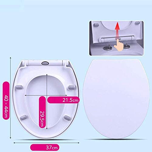 S-graceful便座O形状便座サイレントスローダウン抗菌トップ取り付け厚手便器ふたホワイト-40〜44cm * 37cm