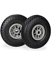 Relaxdays 2 x steekwagenwiel, lekbestendige massief rubberen banden, 3,00-4 inch, 20 mm as, tot 80 kg, 260 x 85 mm, zwart-grijs