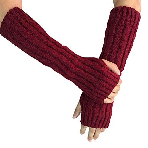 Aeneontrue Women's Cable Winter Knit Fingerless Long Gloves Arm Warmers Style1 Wine Red