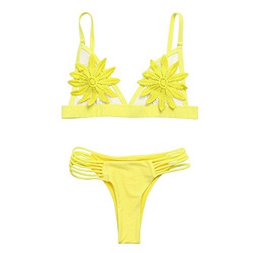 De Day Jaune Pièces Maillots up Bikini Mode Unie Casual Femme Liquidation Set Bain lin Maillot Push Floral Ensembles Rembourré Sexy gorge Couleur Deux Soutien gqrwgSUx