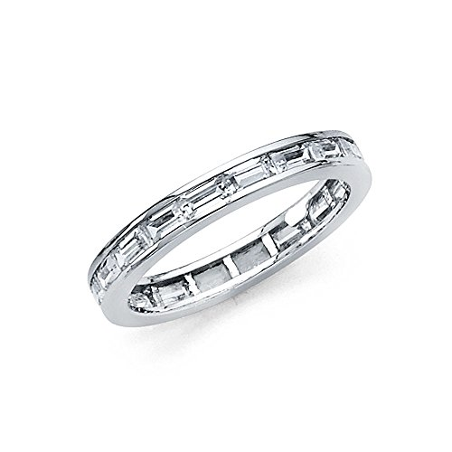 FB Jewels 14k White Gold Baguette Channel Set Cubic Zirconia CZ 3mm Eternity Anniversary Wedding Ring Band 3/4 CTTW -Size 6 ()