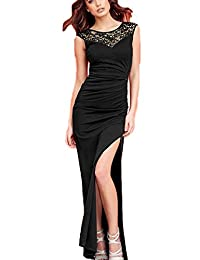 Women's Sexy Sleeveless Beaded Slit Maxi Evening Dress