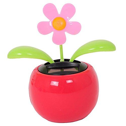 CARESHINE Solar Powered Dancing Flower Pot, Flip Flap Flower Plant Swing Dancing Toy Novelty Ornament for Car