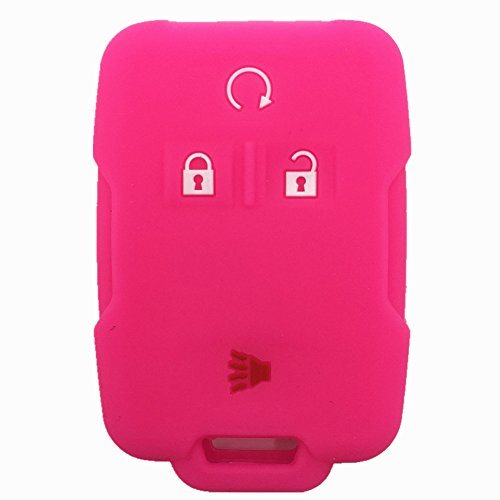 Ezzy Auto Hot Pink Silicone Rubber Key Fob Case Key Cover Keyless Remote Jacket Skin Protector fit for Chevrolet Silverado Colorado GMC Sierra Yukon Cadillac (Remote Jacket)