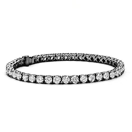 Cate & Chloe Olivia 18k Tennis Bracelet, Womens 18k Black Rhodium Tennis Bracelet w/Cubic Zirconia Crystals, 7.5