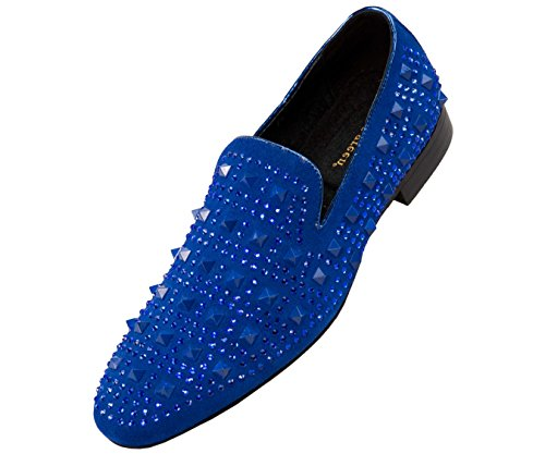 (Asher Green Men's Tonal Crystal and Studded Suede Smoking Slipper, Slip On Dress Shoe, Style AG5000 Royal Blue)