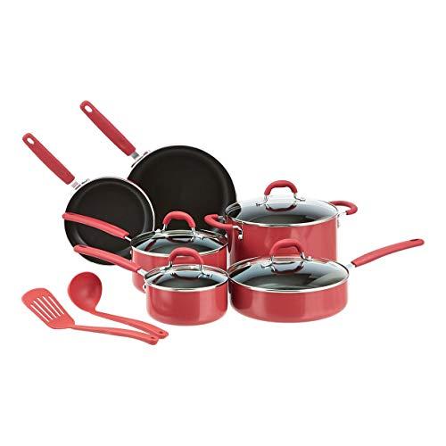 Amazon Basics Ceramic Non-Stick 12-Piece Cookware Set, Red – Pots, Pans and Utensils