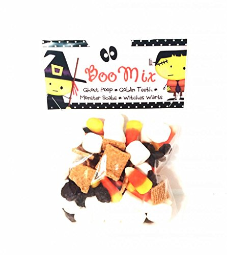 'Boo Mix' Halloween Candy Party Favor Activity Game Kit of Ghost Poop, Goblin Teeth, Monster Scabs and Witches Warts (Cards and (Halloween Ideas)
