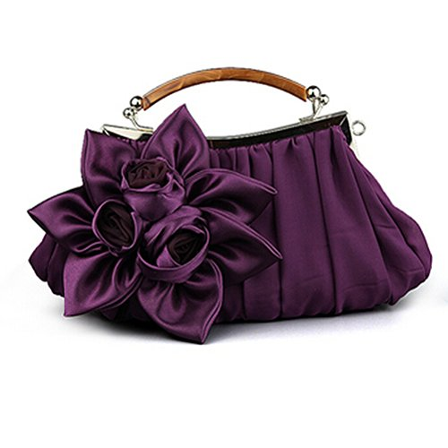 E-TDPAC Large Flower Decoration Stain Party Clutch-Evening Bags (Purple) by E-TDPAC