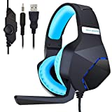 Gaming Headset, Surround Stereo Wired Gaming Headphones with Microphone and Volume Control for PC/Ps4/Xbox one/Phone/Laptop Mac Nintendo Switch Games(Black+Blue)