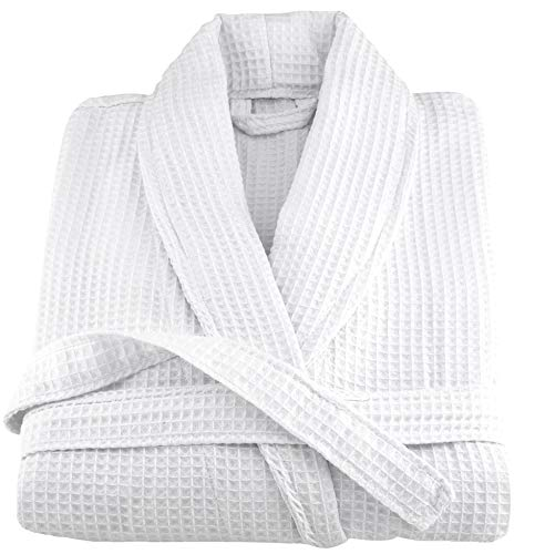 Waffle Robe Mens - OrganicTextiles Spa Bathrobe Waffle Weave, 100% GOTS Certified Organic Cotton, Soft & Absorbent, White, Men Large/X-Large