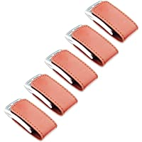 Litop 4GB Pack of 5Brown USB 2.0 Flash Drive Memory U Disk High Quality Metal PU Leather