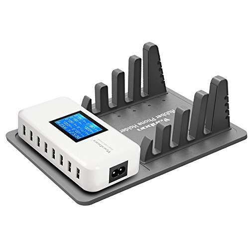 Multiple USB Charger Station, 60W/12A 8-Port Desktop Charger Charging Station Multi Port Travel Fast LCD Wall Charger Hub with Silicone Dock & - Station Watch Outlet Sales