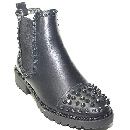 Da Malu Donna Fondo Punta Basso E Stivaletto Shoes Nero Tessuto Impreziosito Con Laterali Borchie Antiscivolo qqUFOZ