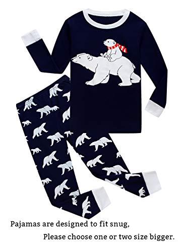 Young Boys Pajamas - Family Feeling Big Girls Boys Christmas Pajamas Sets 100% Cotton Pyjamas Kids Pjs Size 8 Bear