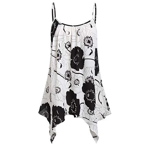 (GHrcvdhw Womens Flower Print Handkerchief Hem Flowy Top Casual Summer Strap Camisoles Tank Blouse White)