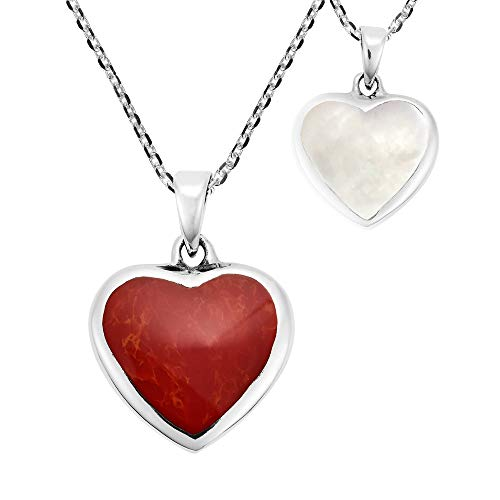 AeraVida Romantic Reversible Heart Reconstructed Red Coral and White Mother of Pearl .925 Sterling Silver Pendant Necklace