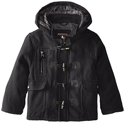 YMI Little Boys' Hooded Toggle Button Wool Coat, Black, 7
