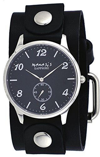 (Nemesis GB253K Women's Signature Sapphire Collection Black Dial Wide Leather Band Watch)