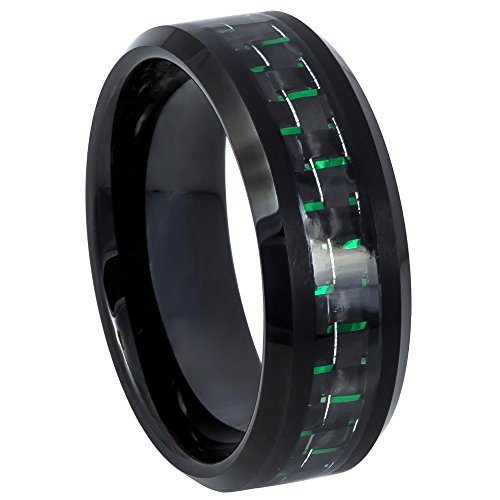 Men's 8mm Beveled Edge Black Ion Plated Polish with Black and Green Carbon Fiber Inlay Tungsten Carbide Wedding Band - s15