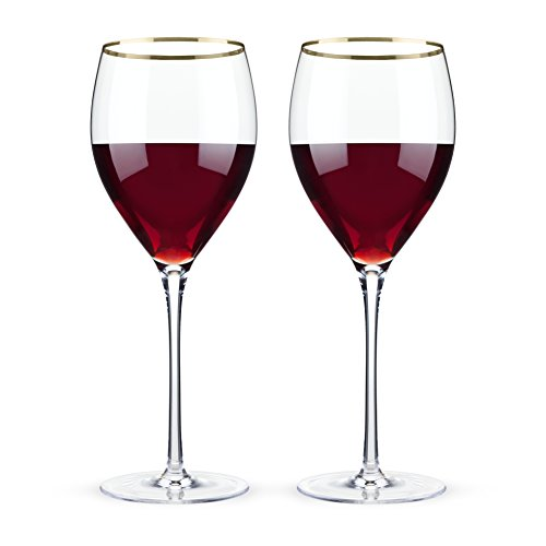 Viski 4892 Belmont Crystal Red Wine Glasses, Set of 2, - Glasses Rim With Gold