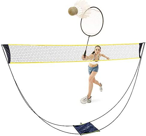 ZOESOE Portable Folding Badminton Net Set Volleyball Tennis Net with Stand and Carry Bag, Easy Setup for Outdoor Indoor Court, Backyard, No Tools or Stakes Required