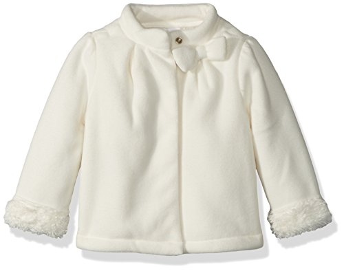 Fur Jacket Trim (Gymboree Baby Girls Faux Fur Trim Jacket with Bow, White, 6-12 Mo)