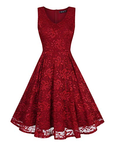 Women's Sleeveless Lace Floral Elegant Cocktail Dress Knee Length for Party (Wine Red1, Medium) -