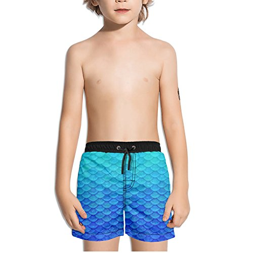 FullBo Blue Mermaid Scales Little Boy's Short Swim Trunks Quick Dry Beach Shorts (Submarine Bathing Suits)