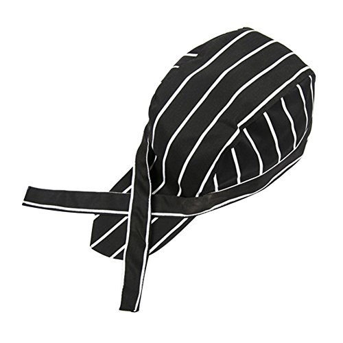 Baker Striped Tie (diffstyle Chef Hat Cooking Skull Cap Striped Plaid Kitchen Tie Back Turban (Black Striped))