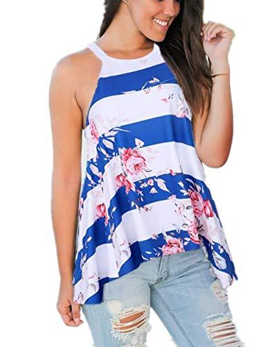 Barlver Women's Floral Tank Tops Sleeveless High Neck Camis Shirt Flowy Halter Summer Tunic Top