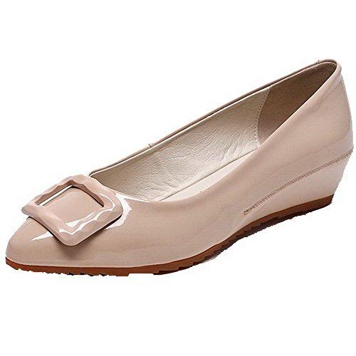 AllhqFashion Damen Niedriger Absatz Lackleder Eingelegt Ziehen auf Pumps Schuhe Aprikosen Farbe