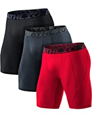 ATHLIO 3 Pack Men's Athletic Cool Dry Compression Shorts, Sports Performance Active Running Tights