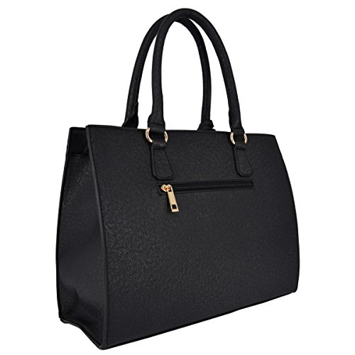 Set Black Handles Bag Beige Handle Briefcase Lady Wallet Rigid Women's Purse Shoulder Work City School Fashion Top Faux Handbag Student Taupe Elegant Bag Gold Shopper CRAZYCHIC Leather Tote Girl 7wzfqxwn