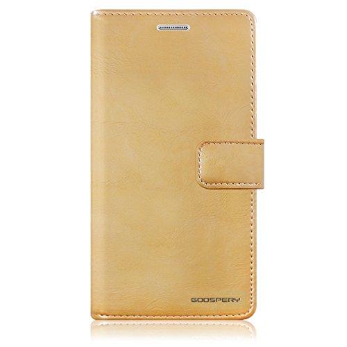 Galaxy Note 4 Fundas, [Drop Protection] GOOSPERY® Blue Moon Diary Caja del teléfono de la imitación de cuero tirón de la carpeta Fundas fundas para Samsung Galaxy Note 4 - Brown Gold