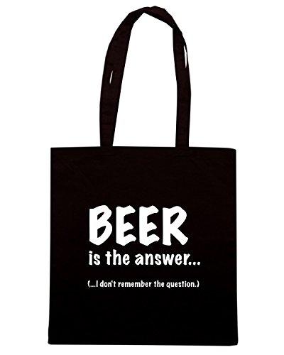 T-Shirtshock - Bolsa para la compra BEER0038 Beer Is The Answer Negro