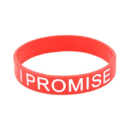 Lychee 1X I PROMISE Printed Silicone Wristband Bracelet Red