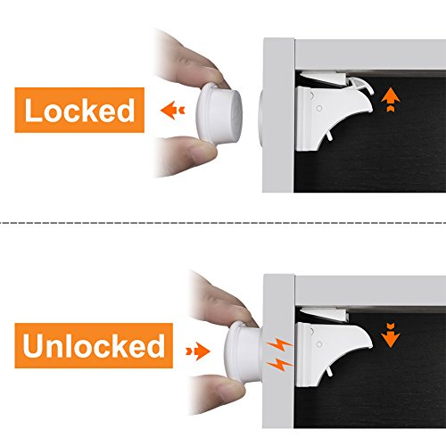 Linkax Baby Magnetic Locks Safety Cabinet Locks Child Magnet Drawer & Door Locks Set for Home Safety No Drilling (10 Locks + 2 Keys) by Linkax (Image #4)