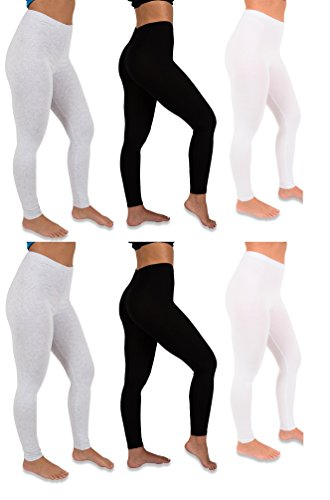 Footless Bright Tights (Mimosa Women's 6 or 12 Pack Stretch Cotton Full Length Footless Legging Tights (Small, 6 Pack- Black/White/Grey))