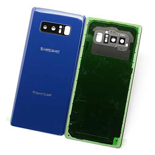Housing Cover New (New Maygadget For Samsung Galaxy Note 8 Note8 (All Carriers) Rear Panel Back Glass/ Back Cover Housing Replacement W/ Waterproof Adhesive,Rear Camera Cover Lens&Flash Diffuser-Blue)