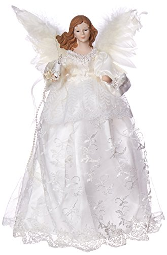 Kurt Adler Indoor 10 Light 14-1/2-Inch Ivory Angel Treetop (Kurt Adler Angel Tree Topper)