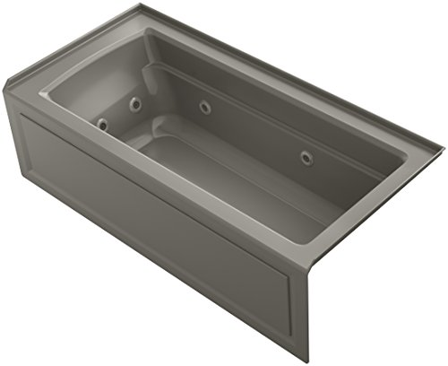 KOHLER 1949-RAW-K4 Archer 66-Inch x 32-Inch Alcove Whirlpool with Bask Heated Surface, Integral Apron, Tile Flange and Right-Hand Drain, Cashmere