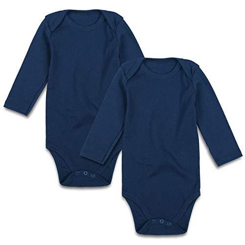 Baby Bodysuit Pack 2 Long Sleeve Onesie for Newborn Boys Girls 0-24 Months (0-3 Months, Navy Blue)