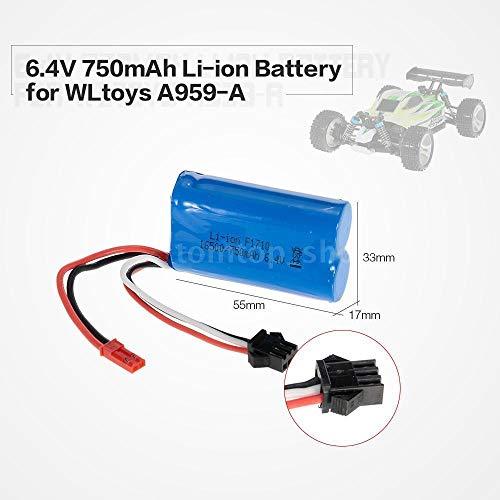 FidgetKute 6.4V 750mAh Li-Ion Rechargeable Battery for WLtoys A959-A A979-A RC Car A8U3