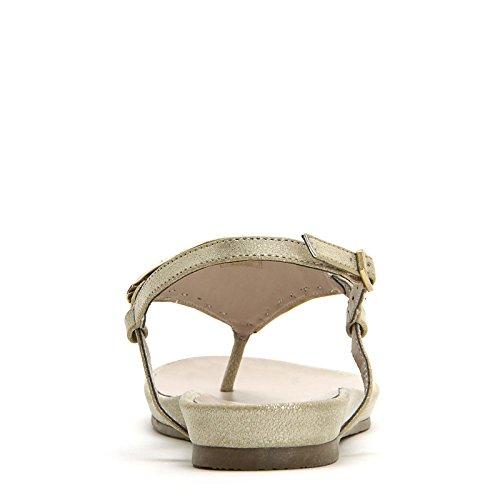 ALESYA by Scarpe&Scarpe - Sandali bassi modello infradito con applicazioni in glitter e pietre - 37,0, Platino