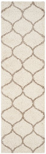Safavieh Hudson Shag Collection Sgh280d Ivory And Beige Moroccan Ogee Plush Runner  23  X 8