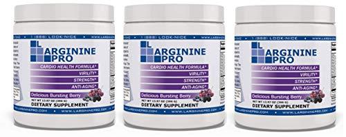 L-arginine Pro, 1 NOW L-arginine Supplement - 5,500mg of L-arginine PLUS 1,100mg L-Citrulline + Vitamins & Minerals for Cardio Health, Blood Pressure, Cholesterol, Energy (Berry, 3 Jars)