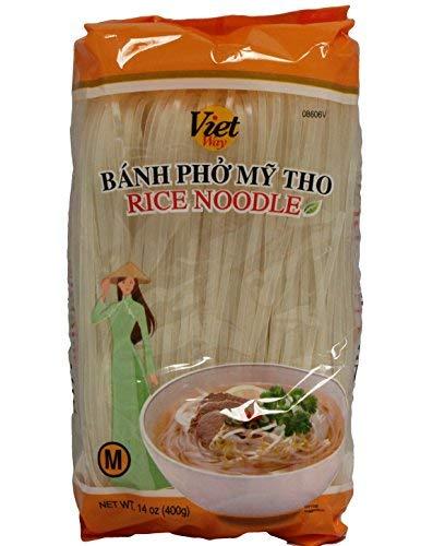 Viet Way Rice Noodle Sticks for Pho, 14oz (3 Packs) (M) (Best Pho Noodle Brand)