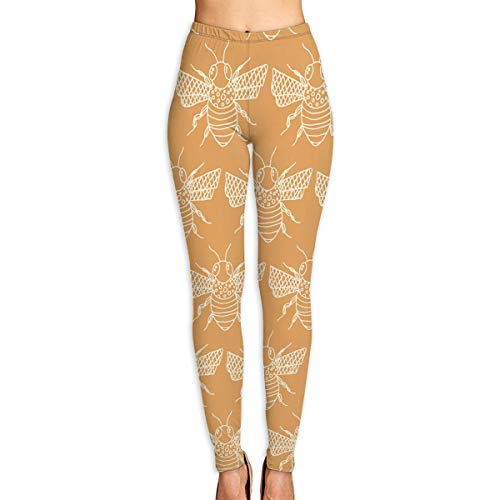 (Cooby Roman Women's Yoga Leggings Pants Vintage Bee Seamless Art Sport Pilates Workout Tights Skinny Pants)